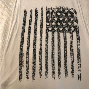 Lauren Moshi black and white flag muscle tunic